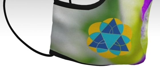 Right Side of Tri Delta Pansy Mask showing logo